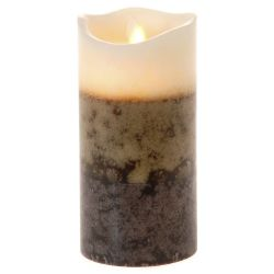Κερί Led Τρίχρωμο Καφέ 7,5x15cm