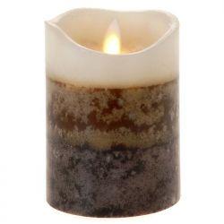 Κερί Led Τρίχρωμο Καφέ 7,5x10cm
