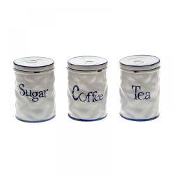 Σέτ 3τμχ Καφέ-Τσάι-Ζάχαρη Κεραμικό Λευκό 11x15cm