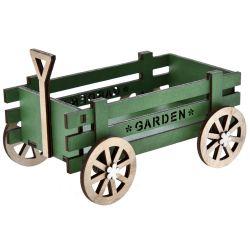 Ξύλινο Καρότσι Πράσινο 15x12x11cm