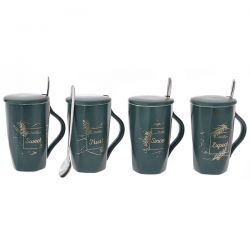 Κούπα Πράσινη Με Καπάκι Και Κουτάλι 8x13cm ILLI DECO