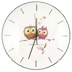 Ρολόι Τοίχου Γυάλινο Λευκό Με Κουκουβάγιες Φ30cm