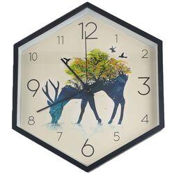 Ρολόι Τοίχου Πλαστικό Εξάγωνο Μαύρο Ελάφι Φ30cm