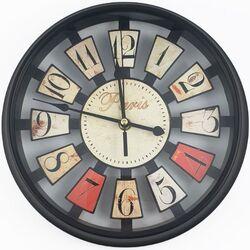 Ρολόι Τοίχου Πλαστικό Μαύρο Paris Φ26cm