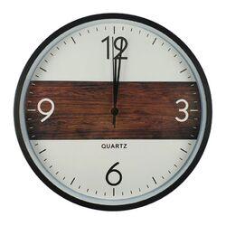 Ρολόι Τοίχου Στρογγυλό Πλαστικό Λευκό-Καφέ Φ30cm - 90100570405