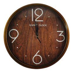 Ρολόι Τοίχου Στρογγυλό Πλαστικό Καφέ Τύπου Ξύλο Φ30cm - 90100570398