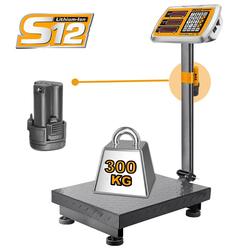 Ηλεκτρονική Ζυγαριά Έως 300Kg Μπαταρίας 12V Li-Ion Ingco