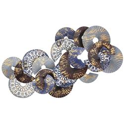 Μεταλλική Σύνθεση Τοίχου Με Κύκλους Γκρι-Μπρονζέ 125x70cm - 28974395