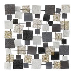 Μεταλλική Σύνθεση Τοίχου Με Τετράγωνα Καφέ-Χρυσή-Κρεμ 76x76cm - 28974389