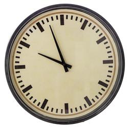 Ρολόι Τοίχου Μεταλλικό Κρεμ-Μαύρο Με Γυαλί Φ40cm - 28974027