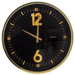 Ρολόι Τοίχου Μεταλλικό Μαύρο-Χρυσό Με Γυαλί Φ40cm - 28974020