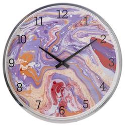 Ρολόι Τοίχου Μεταλλικό Μωβ Με Γυαλί Φ40cm - 28974016