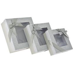 Χάρτινο Γκρι Κουτί Με Παράθυρο Σετ 3Τεμ - 28969589