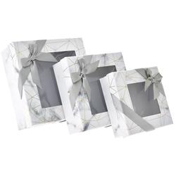 Χάρτινο Γκρι-Λευκό Κουτί Με Παράθυρο Σετ 3Τεμ - 28969583