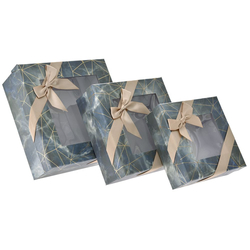 Χάρτινο Μπεζ-Γκρι Κουτί Με Παράθυρο Σετ 3Τεμ - 28969582