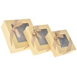 Χάρτινο Μπεζ Κουτί Με Παράθυρο Σετ 3Τεμ - 28969587