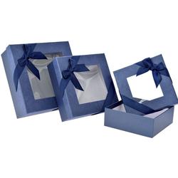 Χάρτινο Μπλε Κουτί Με Παράθυρο Σετ 3Τεμ - 28969588