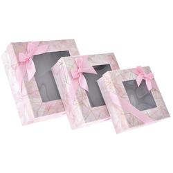 Χάρτινο Ροζ Κουτί Με Παράθυρο Σετ 3Τεμ - 28969581