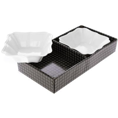 Μπωλ Λευκό Τετράγωνο Σετ 2τμχ 33x17x6