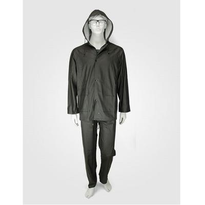 Αδιάβροχο Κοστούμι PU Με Kουκούλα Μαύρο Comfort